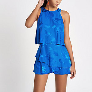 Blue floral tiered romper