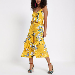 Yellow floral tiered frill jumpsuit