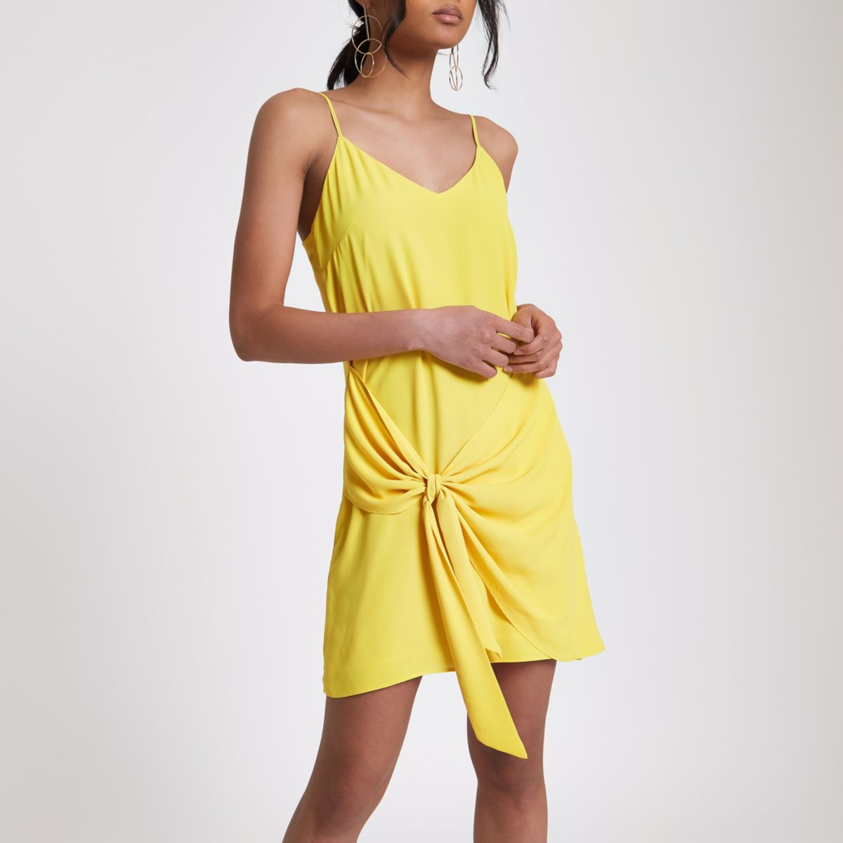 Yellow tie front cami dress