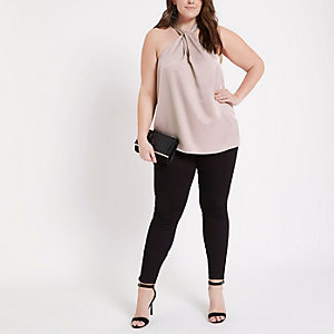 Plus pink twist front halter top