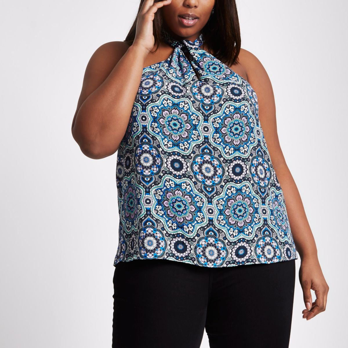 Plus blue printed twist front halter top