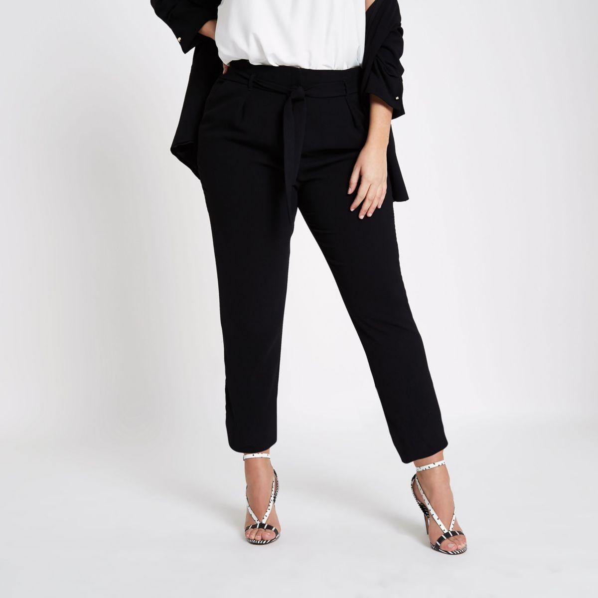 Plus black tie waist tapered trousers