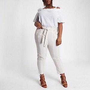 Plus – Pantalon fuselé rayé beige noué à la taille