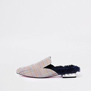 Bruine geruite hielloze loafers