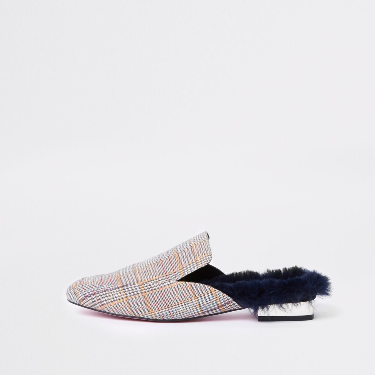 Brown check backless loafer
