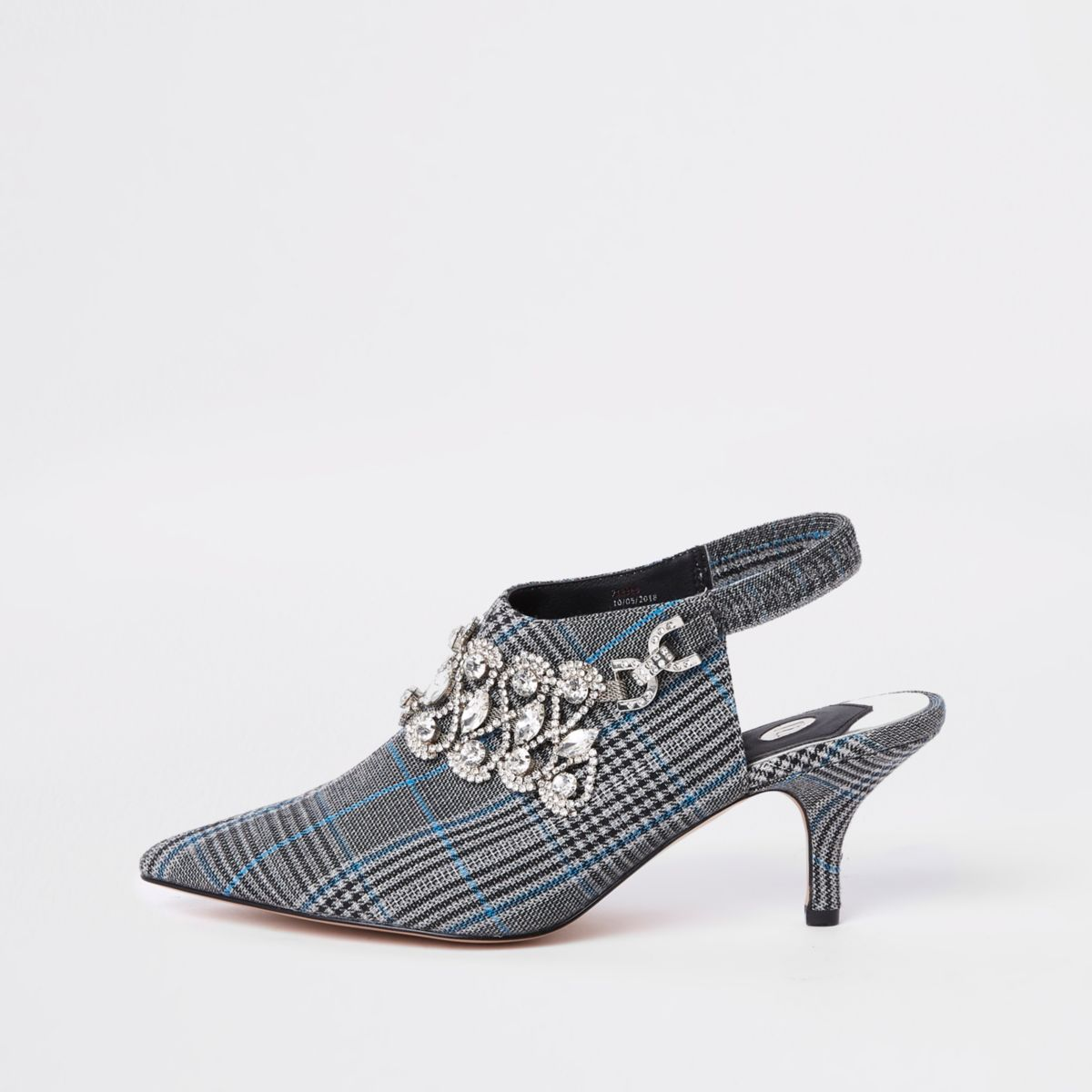 Grey check diamante sling back court shoes