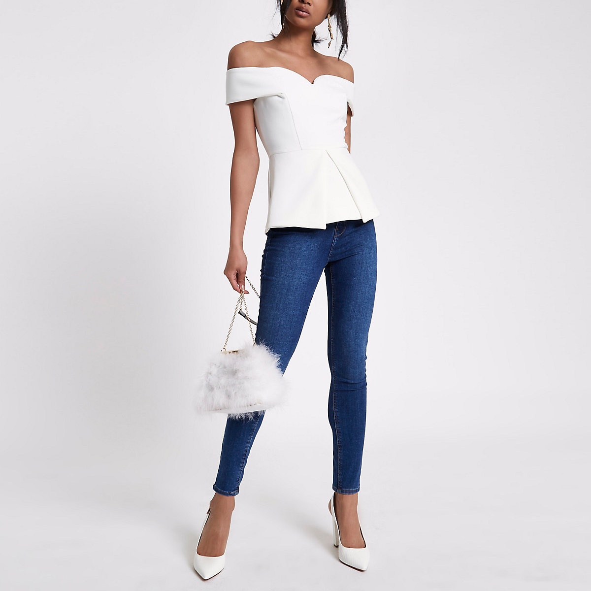 White structured bardot top