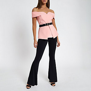 Pink structured bardot top