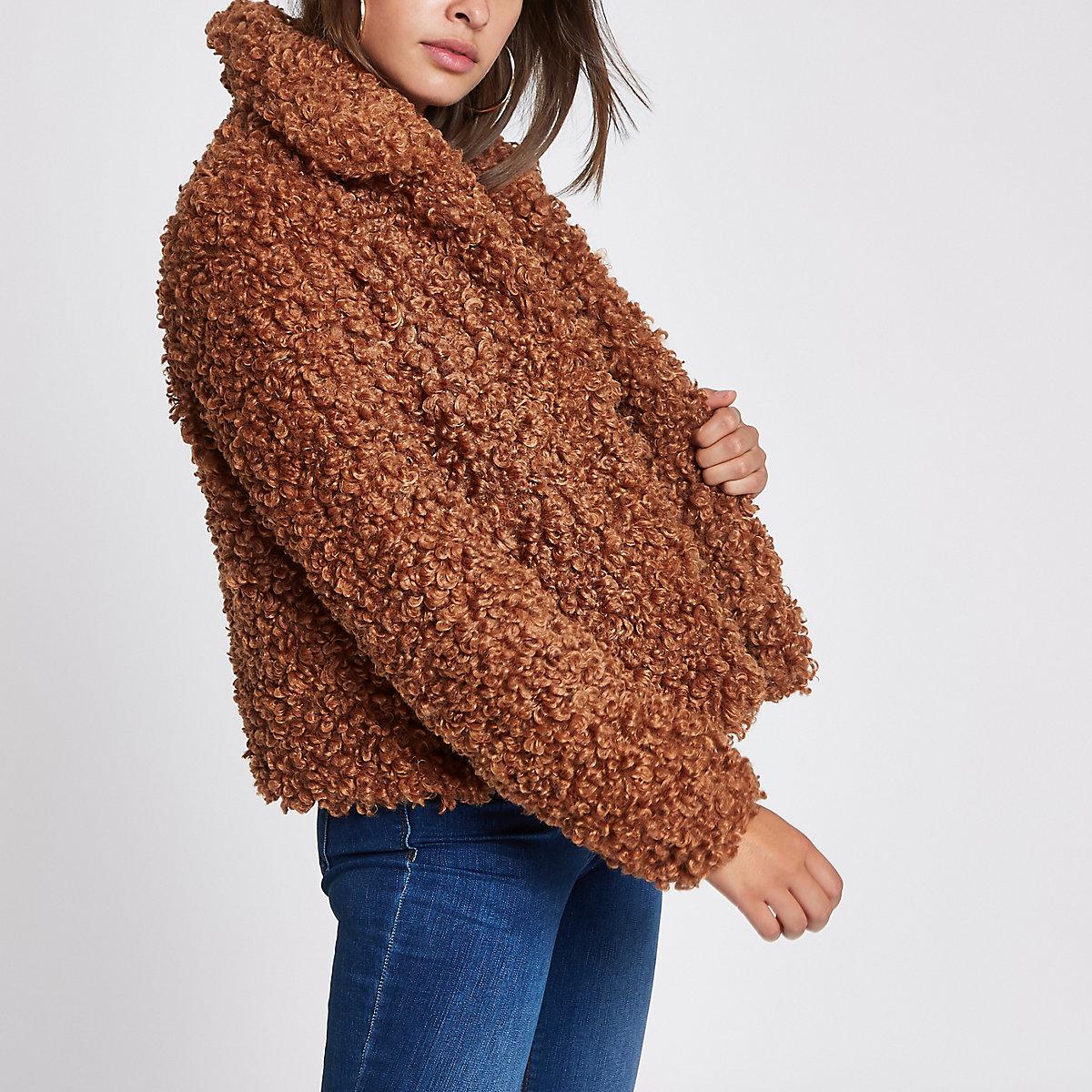 Brown faux fur swing coat