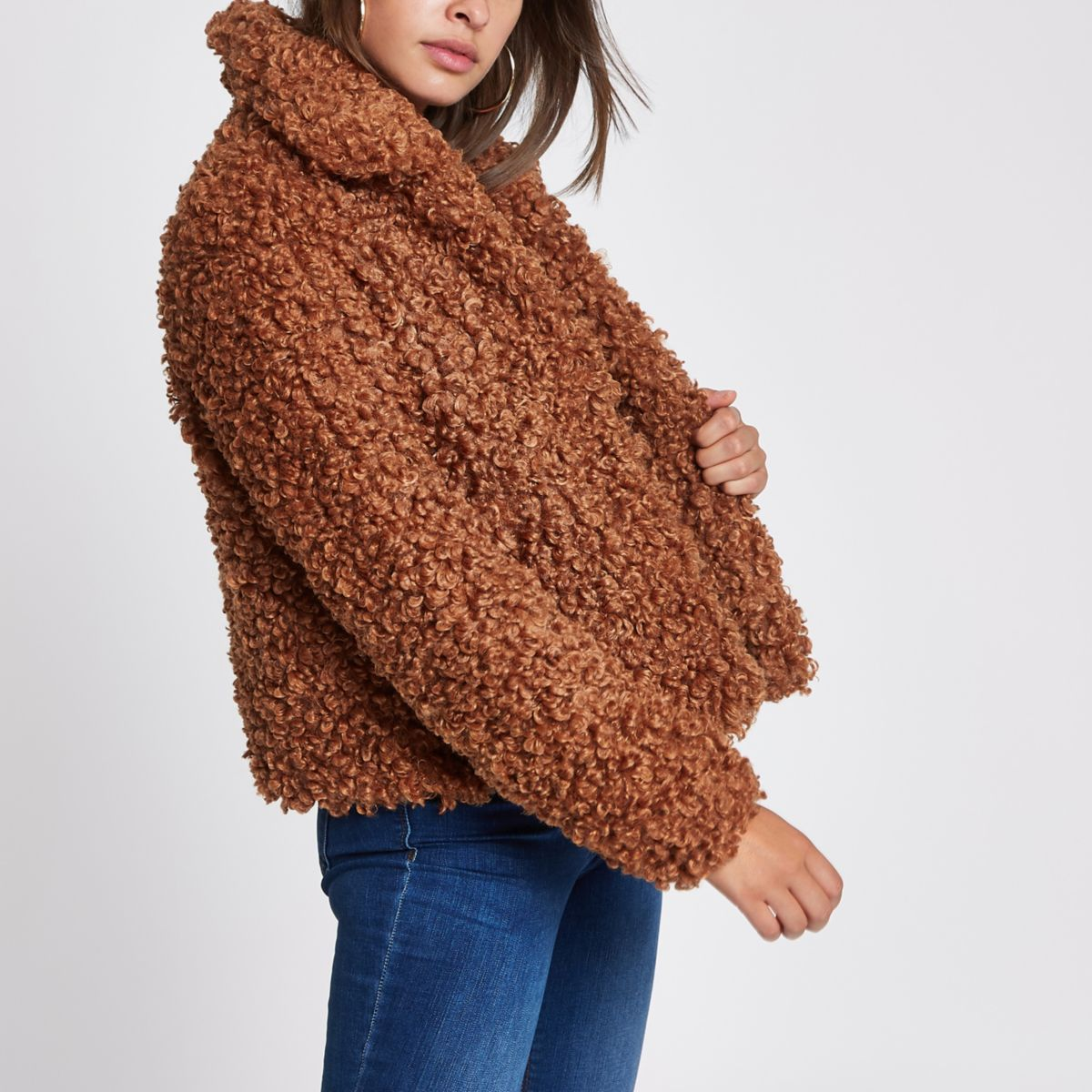 Brown faux fur swing coat