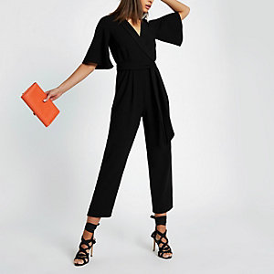 Black tie front short sleeve jumpsuit