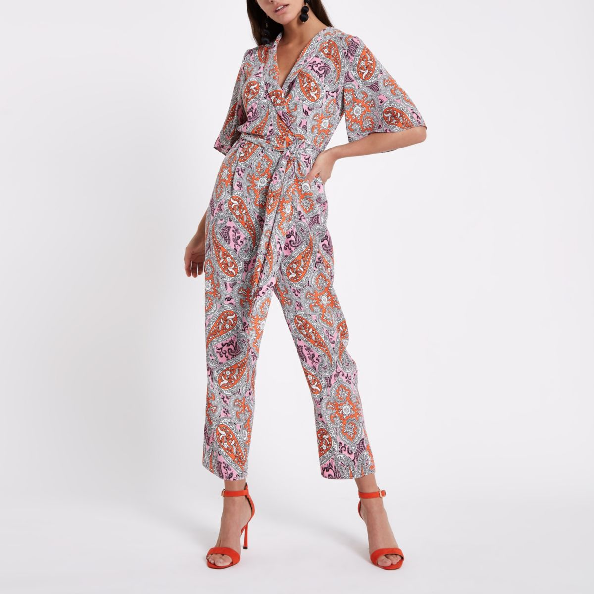 Pink Paisley Print Tie Waist Jumpsuit by River Island
