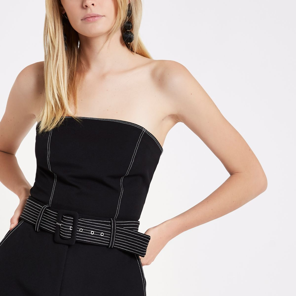 Black contrast stitch bandeau top