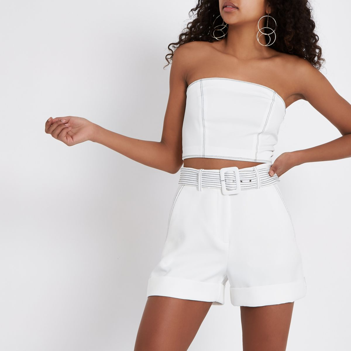 White contrast stitch bandeau top