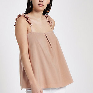 Pink ruffle shoulder cami top