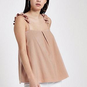 Pink ruffle shoulder cami top