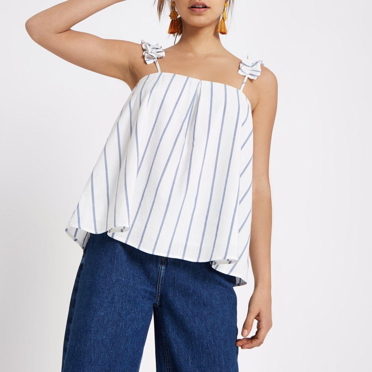 Cream stripe ruffle shoulder cami  top