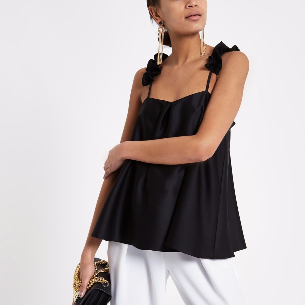 Black frill shoulder cami top