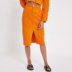 Jeans-Bleistiftrock in Orange