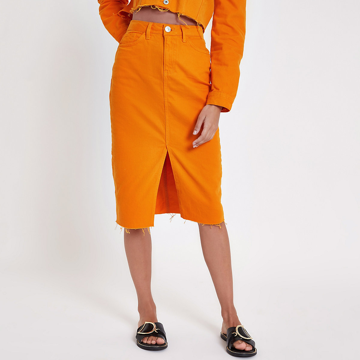 Oranje denim kokerrok
