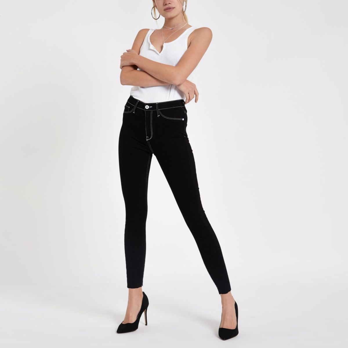 Harper - Zwarte jeans met hoge taille en contrast