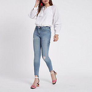 Mid blue Molly step hem mid rise jeans