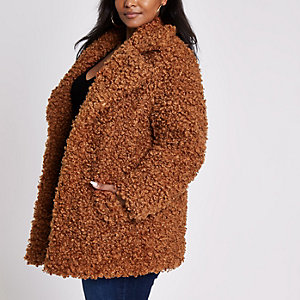 Plus brown faux fur coat