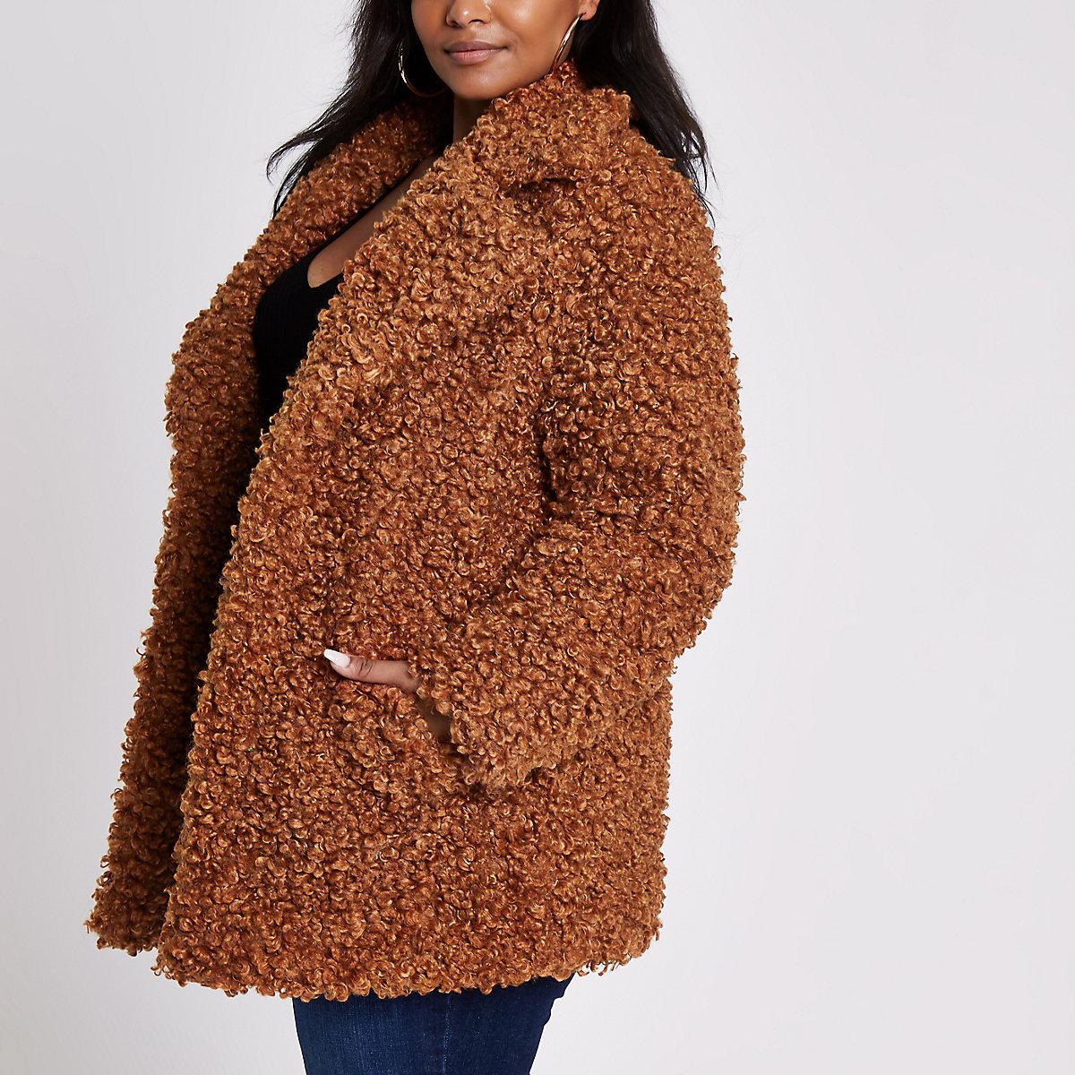 Plus brown faux fur coat