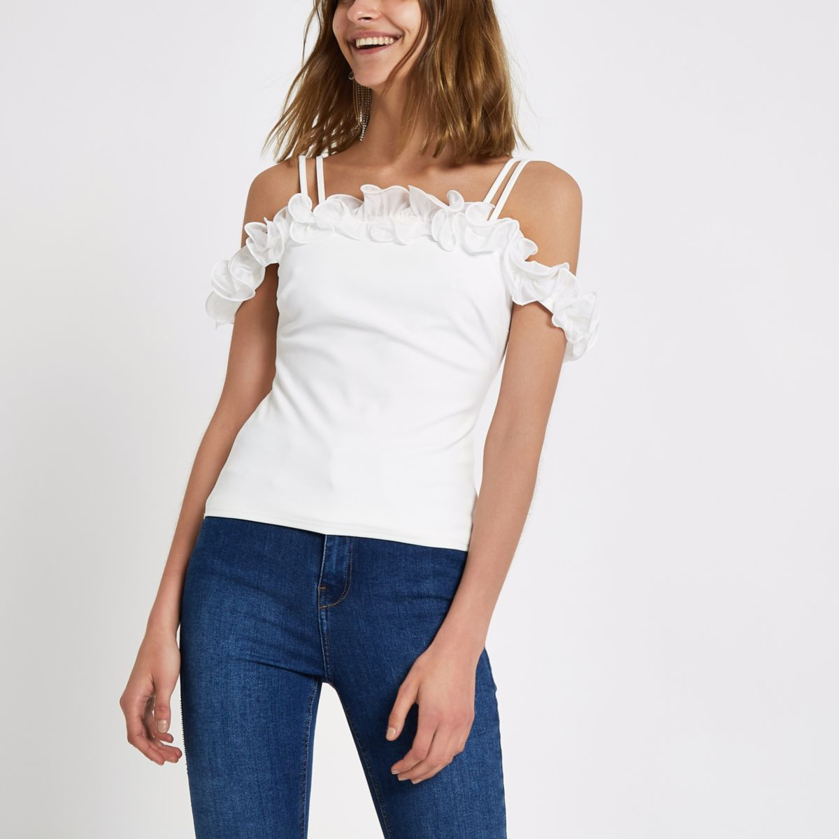 White frill cold shoulder cami top