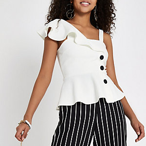 White one shoulder button up top
