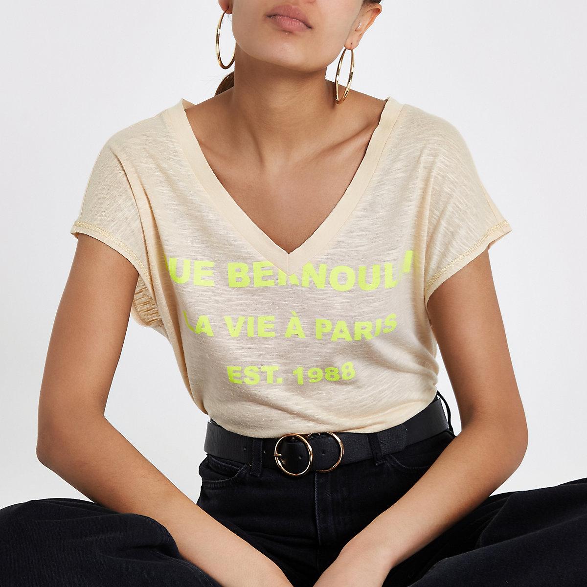 Beige ruimvallend T-shirt met print