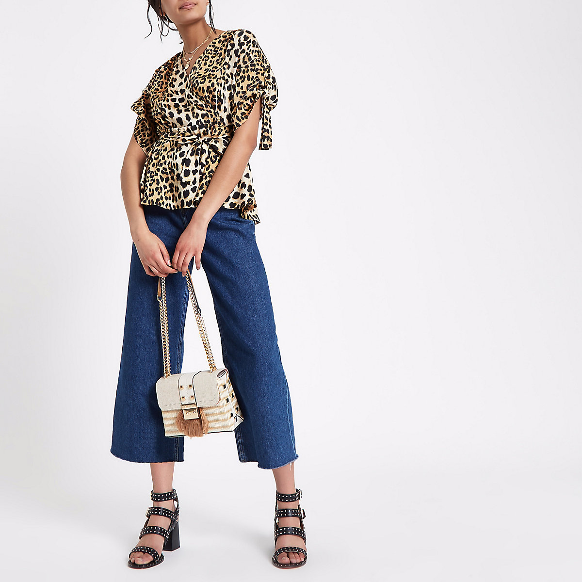 89bde877a79 Brown leopard print tie side wrap top - Blouses - Tops - women