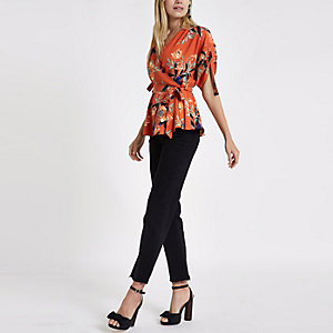 Red floral wrap side ruched sleeve top