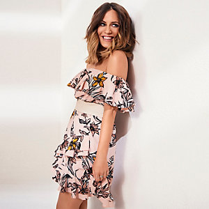 Pink Caroline Flack floral bardot mini dress