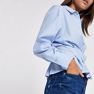 Blue stripe poplin frill fitted shirt