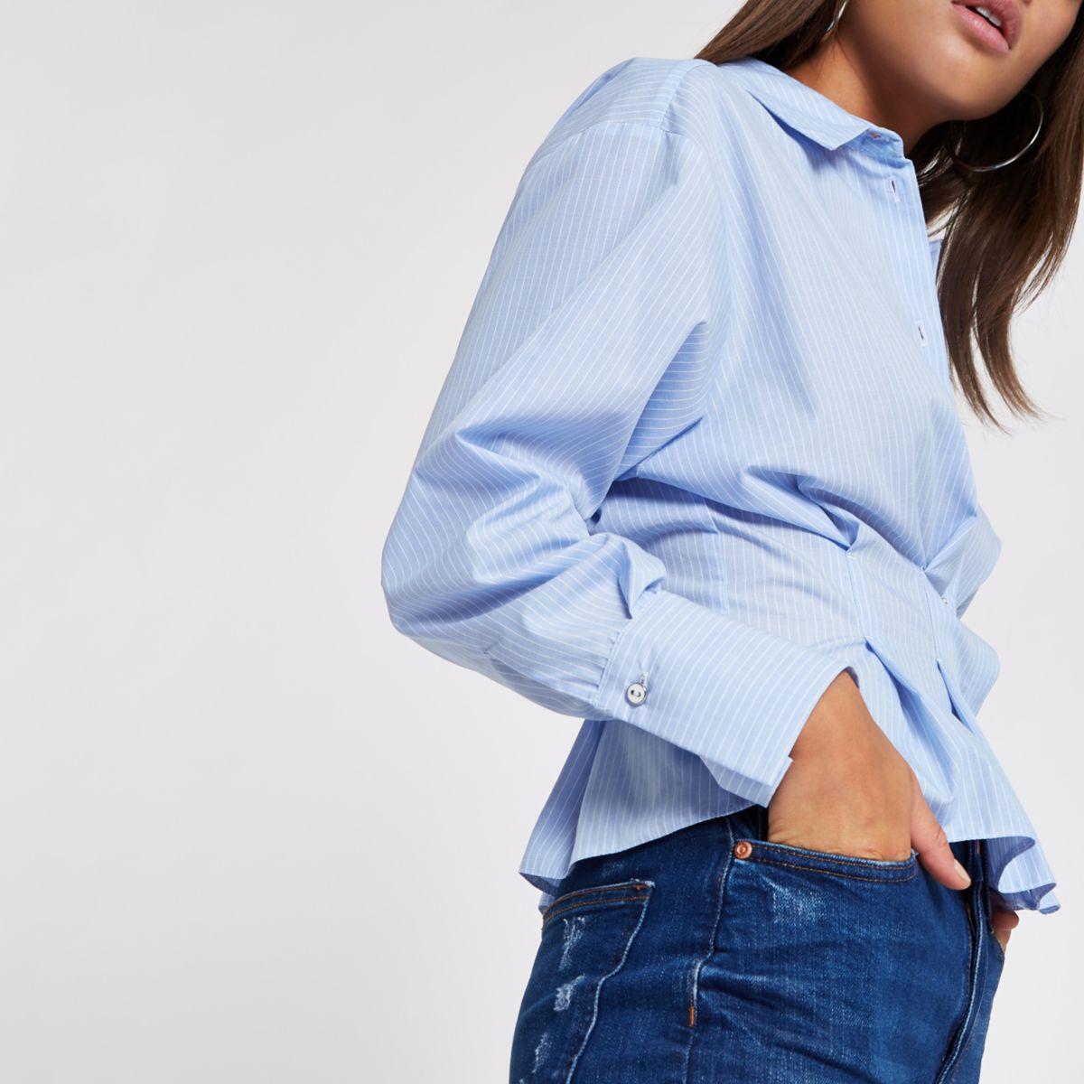 Blue stripe poplin frill fitted shirt