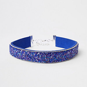 Blue seedbead heatseal choker