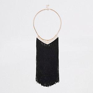 Black gold tone diamante tassel necklace