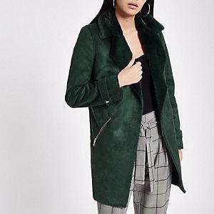 Donkergroene gedrapeerde jas van imitatiesuède