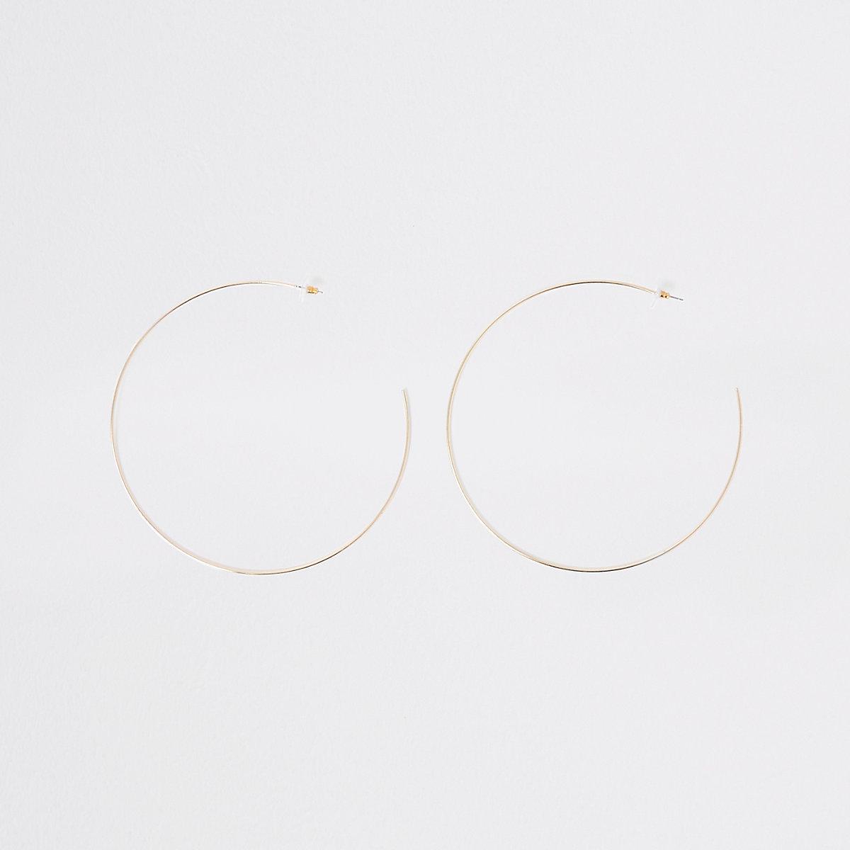 Gold color oversized hoop earrings