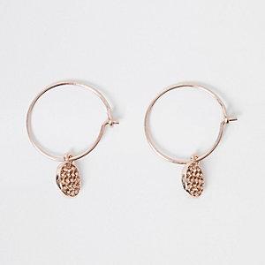 Rose gold hoop pendant earrings