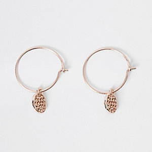 Rose gold hoop pendant earrings