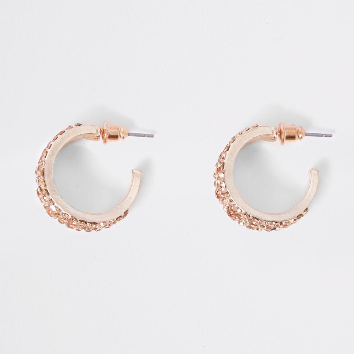 Rose gold tone rhinestone chunky hoop earrings