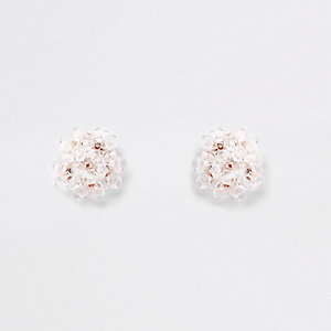 Rose gold tone beaded earrings