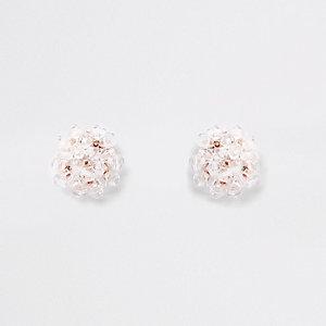 Boucles d'oreilles doré rose à perles