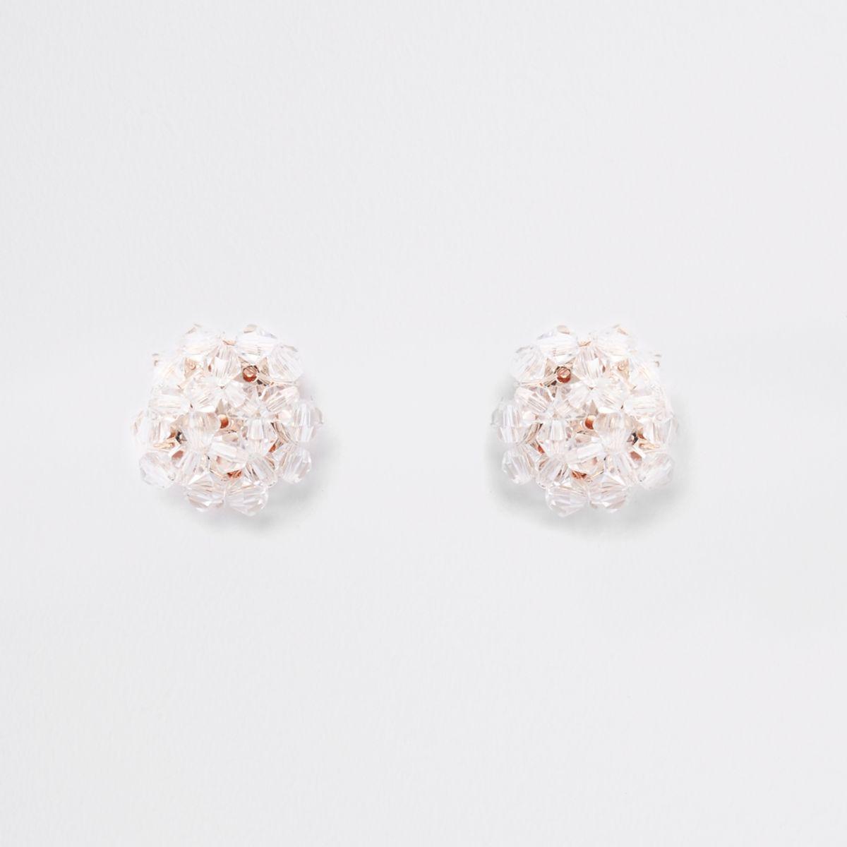 Rose gold tone beaded earrings