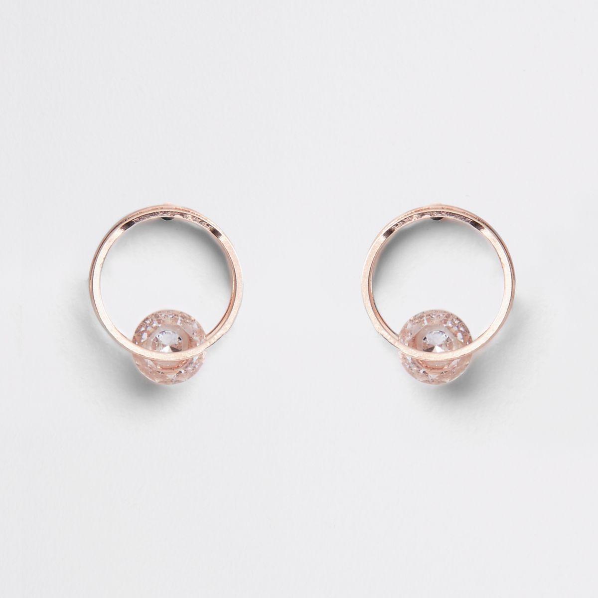 Rose gold tone double circle stud earrings