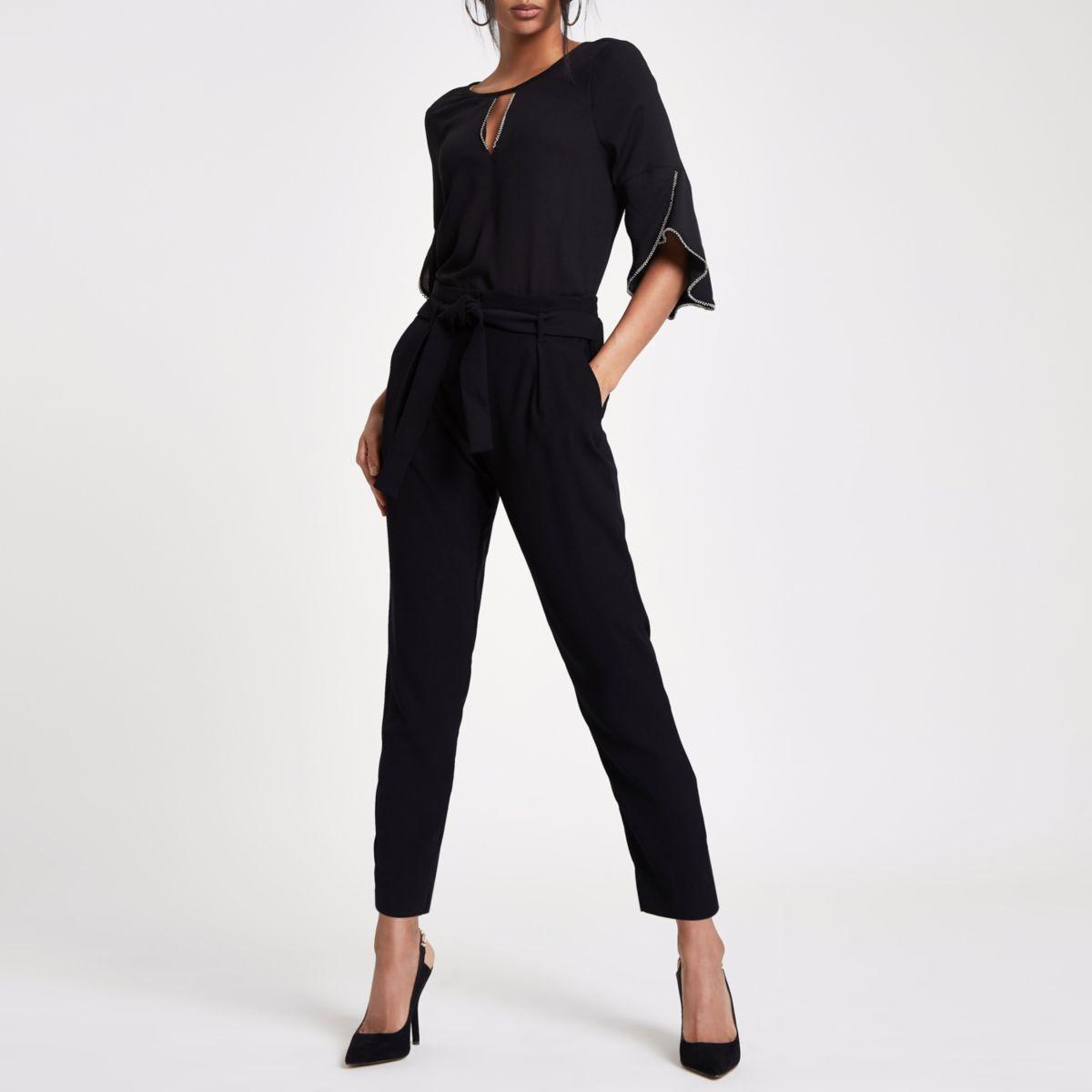 Black beaded frill sleeve blouse