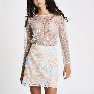 Cream sequin embellished mesh top