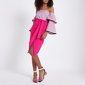 Pink stripe frill sleeve bardot top